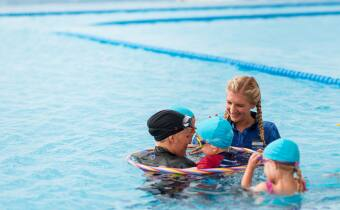 TFL Swim school Rebecca Adlington and children in water